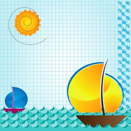 rowboat: mar y beckground barco en el libro de ejercicio aritm�tico