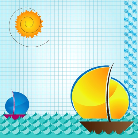 sea and boat beckground on arithmetic exercise book  Stock Vector - 19372161