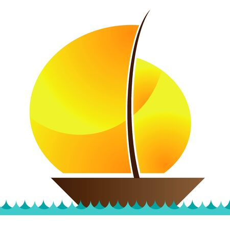 sailing boat on a waves of the sea Stock Vector - 19372156