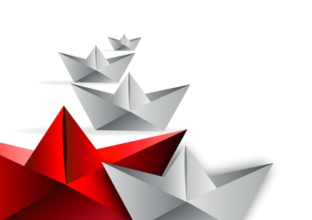 red origami boat to competition  Vector