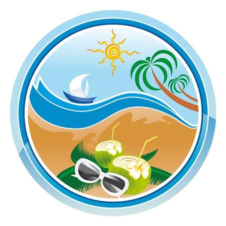 summer background beach sea and sun Stock Vector - 19372188