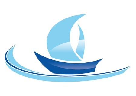 voile bateau: voilier bleu stylis� sur un fond blanc Illustration