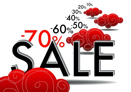 percentages: summer sales with red coud and numer Illustration