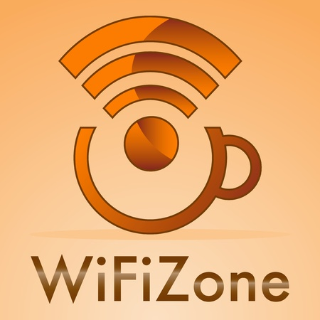wifi zone with small cap's coffee on a orange background Stock Vector - 19591209