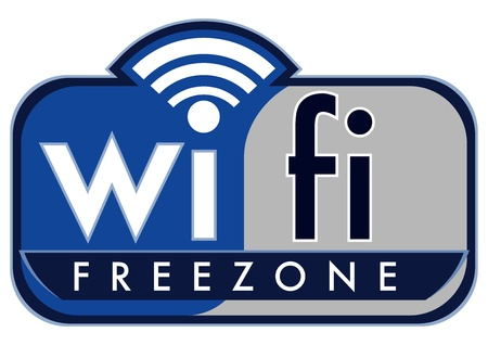 wifi sign: wifi free zone with small caps coffee on a white background