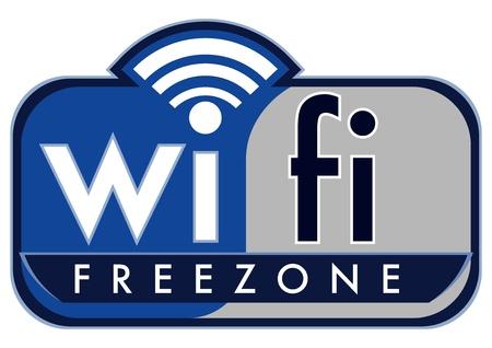 wifi access: wifi zone gratuita con caff� del piccolo tappo su uno sfondo bianco
