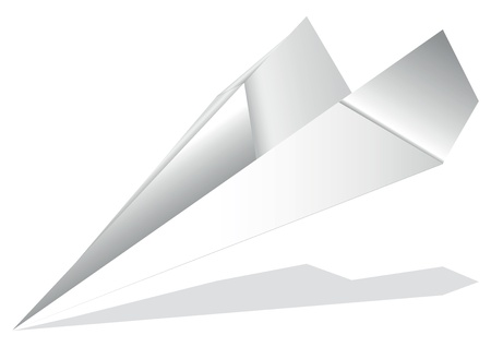 origami airplane with gray shadow on a white background Vector