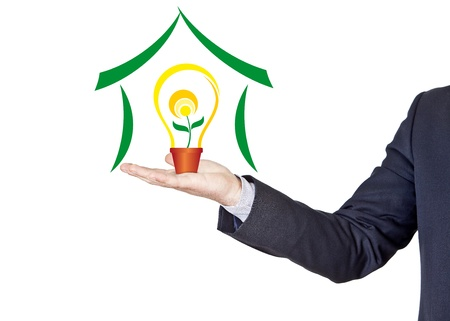 businessman offers energy saving concept isolated on the hand photo