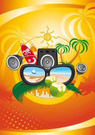 fiesta en la playa: Tarjeta del partido del verano con fondo tropical cocos palma playa del mar y el sol