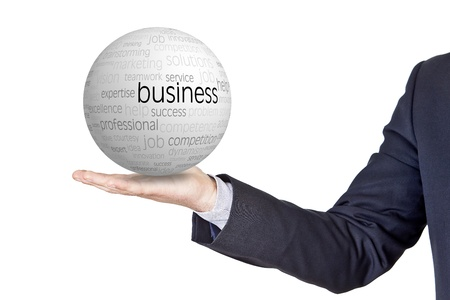 businessman with conceptual sphere in the hand Standard-Bild
