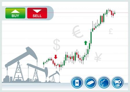 bullish: candele di trading grafico su uno sfondo bianco Vettoriali