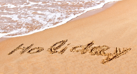 written holiday drawn on the sand on a beach Stock Photo - 20214230