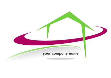 terraced: house business brand with colored circles on a white background