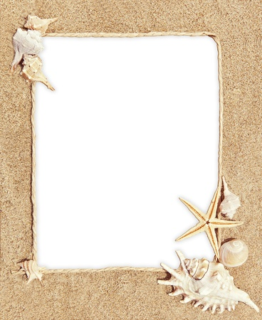 frame with sea shells and sand as background Stock Photo - 20351628