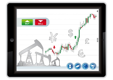 bearish market: trading application for tablet on a white background Illustration