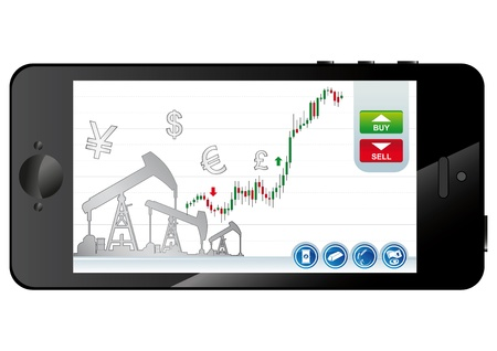indexes: smartphone business application on a touch screen background