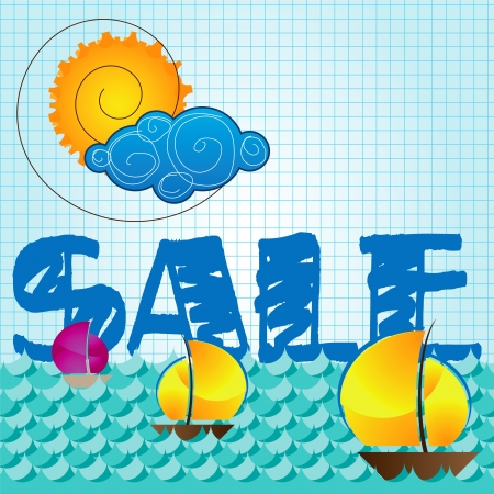 discounting: special summer sale with sun and cloud