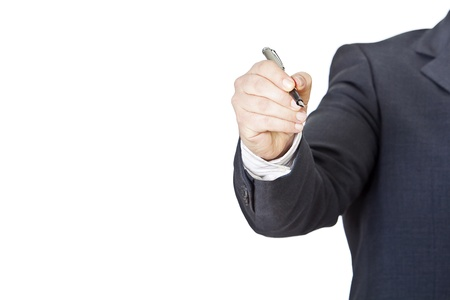 businessman with fountain pen on a white background photo