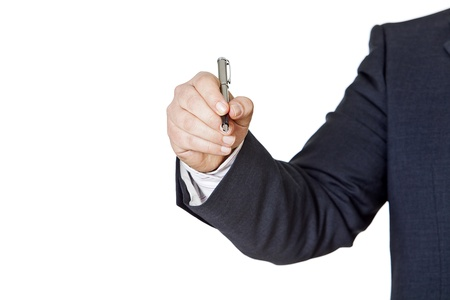 businessman with fountain pen on a white background Stock Photo