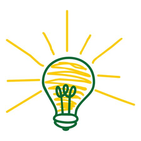intuition: drawn light bulb representing an idea on a white background