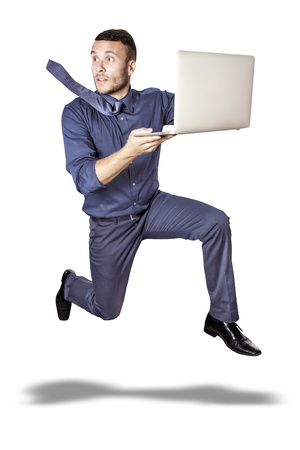 running man with blue tie and computer