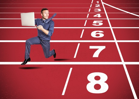 delirious: stressed man on track for challenge of the company Stock Photo