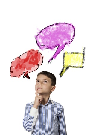 intuition: consideration children with red and violet clouds Stock Photo