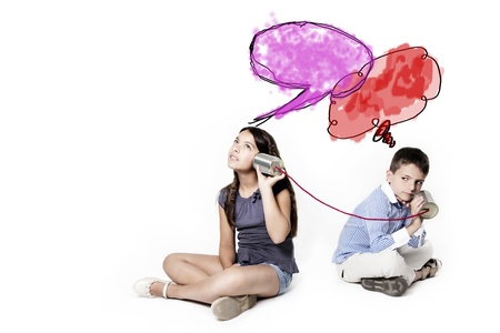 tin can phone: thinking children with red and violet colud Stock Photo