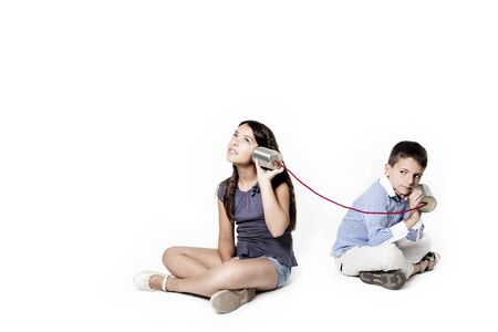 tin can telephone: children who call on a white background