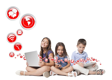 children and technology with circle red icons photo