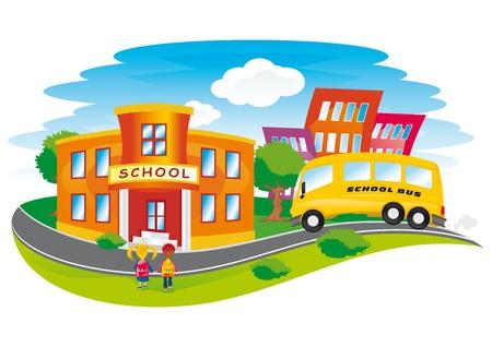 retour: scène met de kinderen terug naar school in een kleurrijke stad Stock Illustratie