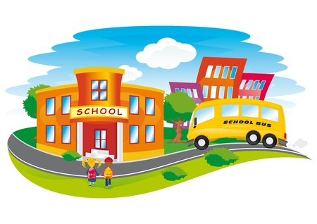 school activities: scene with children returning to school in a colorful city Illustration