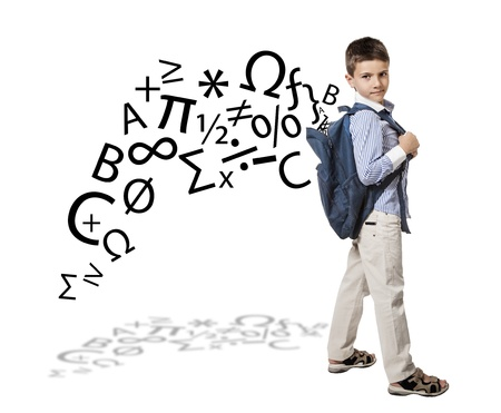 private schools: back to school with little caucasian boy Stock Photo