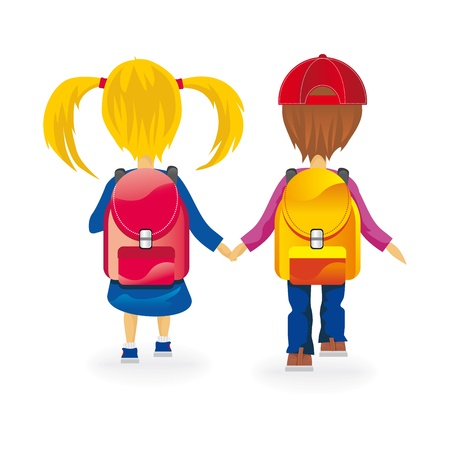 kids go to school holding hands Vector