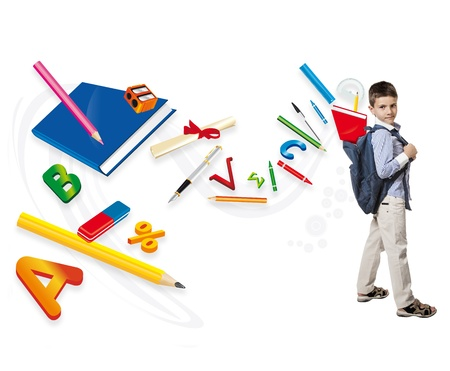from the backpack of a young boy explode objects for school photo