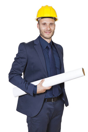 businessman engineer on a white background Stock Photo