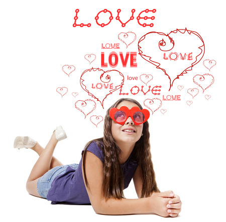 children in love with red heart and words Stock Photo - 22479782