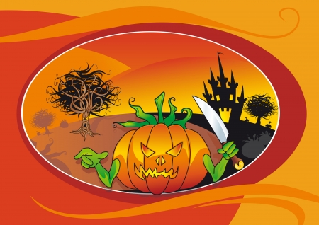 bewitched: halloween card with bad lantern pumpkin
