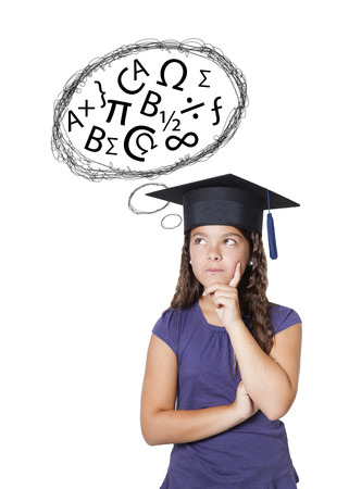university choice: indecision girl with numbers and words on a white  Stock Photo