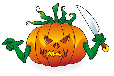 bewitched: halloween bad lantern pumpkin with knife on a white background Illustration
