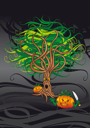woodland  horror: dark background with evil tree and lantern pumpkins Illustration