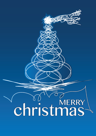 christmas background with white lines on a blue background Vector