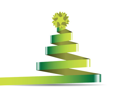christmas tree with green star on a white Stock Vector - 23290693