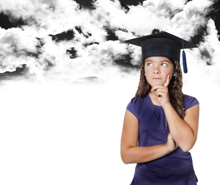 master degree: child who thinking outdoor below black clouds