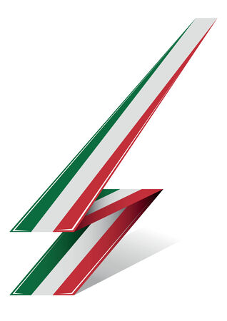 european championship: italy arrow to flag with red white and green color