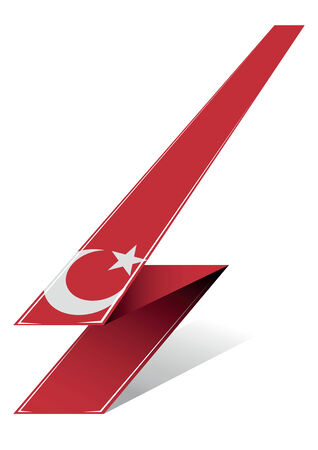 turkish flag: turkey arrow to flag with white moon and star