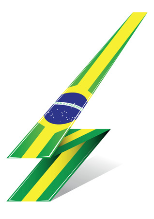 brazil arrow to flag with green and yellow colors