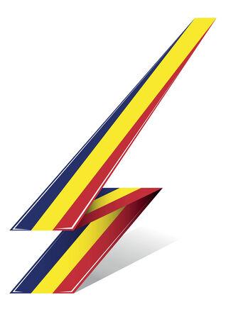 romania flag: romania arrow to flag with red blue and yellow color Illustration