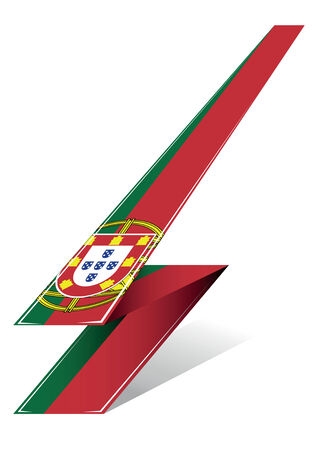made in portugal: portugal arrow to flag with red and green color Illustration
