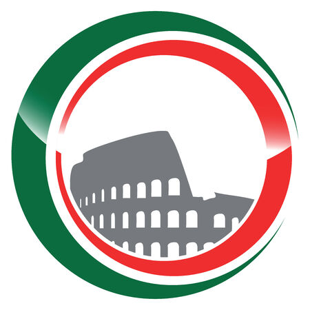 european championship: italian flag with coliseum and red green circles